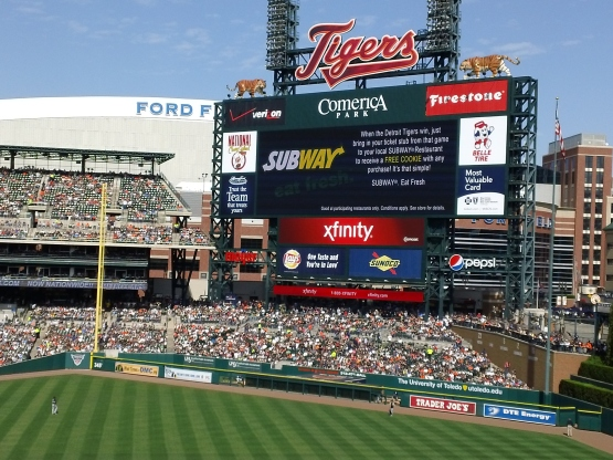 The scoreboard at Comerica Park